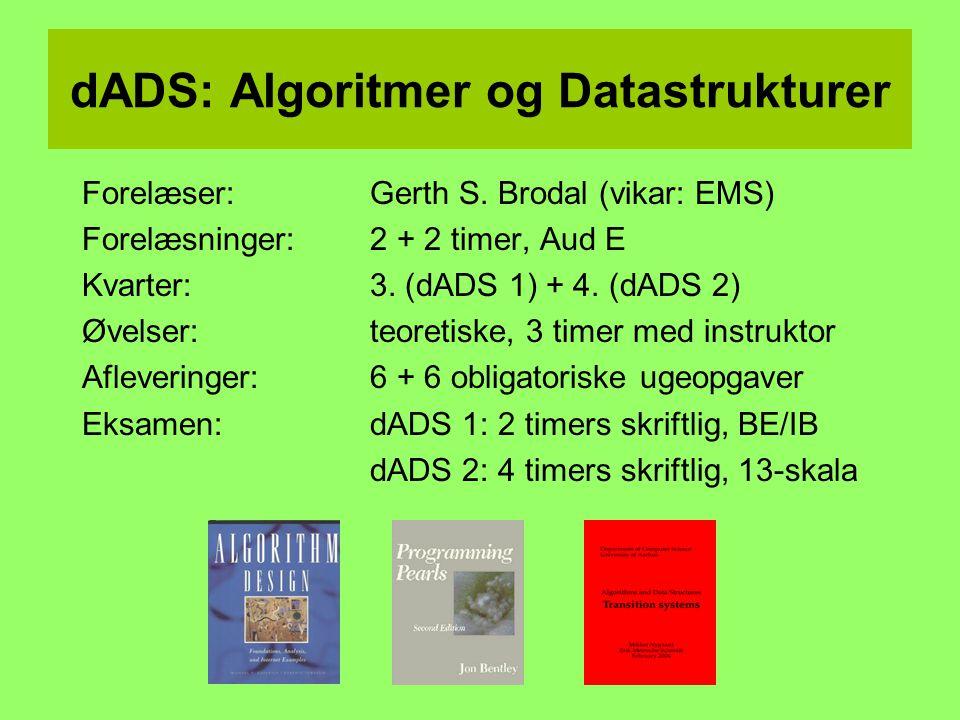 dADS: Algoritmer og Datastrukturer Forelæser: Gerth S.