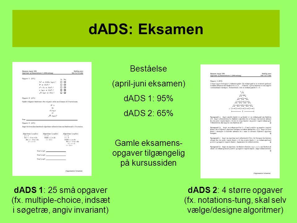 dADS: Eksamen Beståelse (april-juni eksamen) dADS 1: 95% dADS 2: 65% Gamle eksamens- opgaver tilgængelig på kursussiden dADS 2: 4 større opgaver (fx.