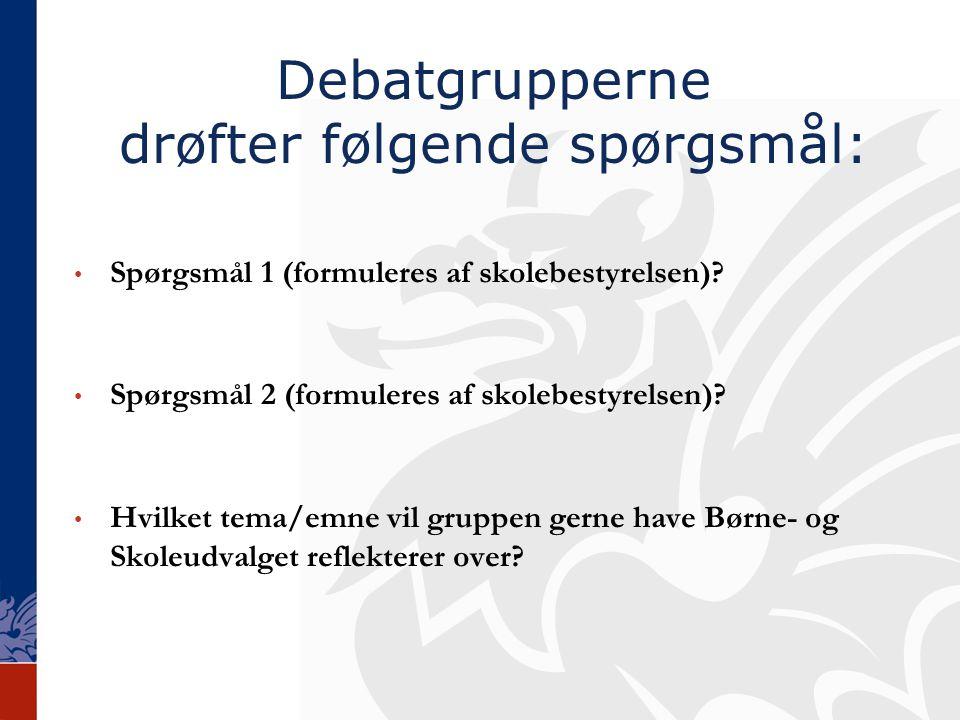 Debatgrupperne drøfter følgende spørgsmål: Spørgsmål 1 (formuleres af skolebestyrelsen).