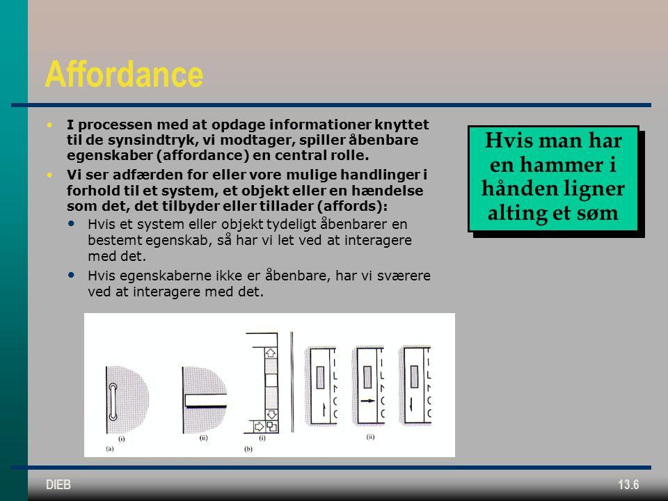DIEB13.6 Affordance I processen med at opdage informationer knyttet til de synsindtryk, vi modtager, spiller åbenbare egenskaber (affordance) en central rolle.