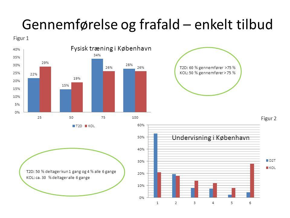 Gennemførelse og frafald – enkelt tilbud T2D: 50 % deltager kun 1 gang og 4 % alle 6 gange KOL: ca.