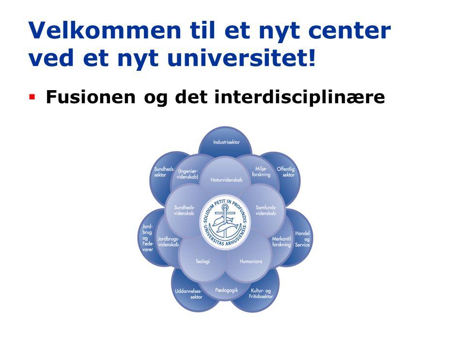 Velkommen til et nyt center ved et nyt universitet!  Fusionen og det interdisciplinære