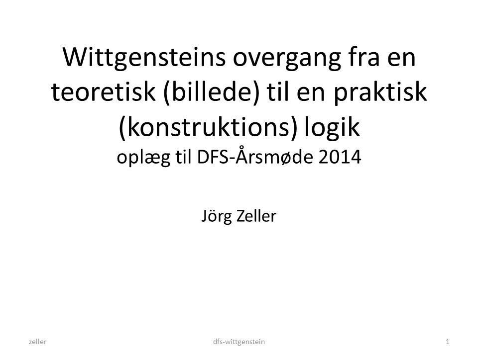 Wittgensteins overgang fra en teoretisk (billede) til en praktisk (konstruktions) logik oplæg til DFS-Årsmøde 2014 Jörg Zeller zellerdfs-wittgenstein1