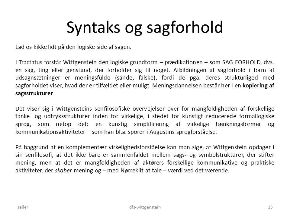 Syntaks og sagforhold zellerdfs-wittgenstein15 Lad os kikke lidt på den logiske side af sagen.