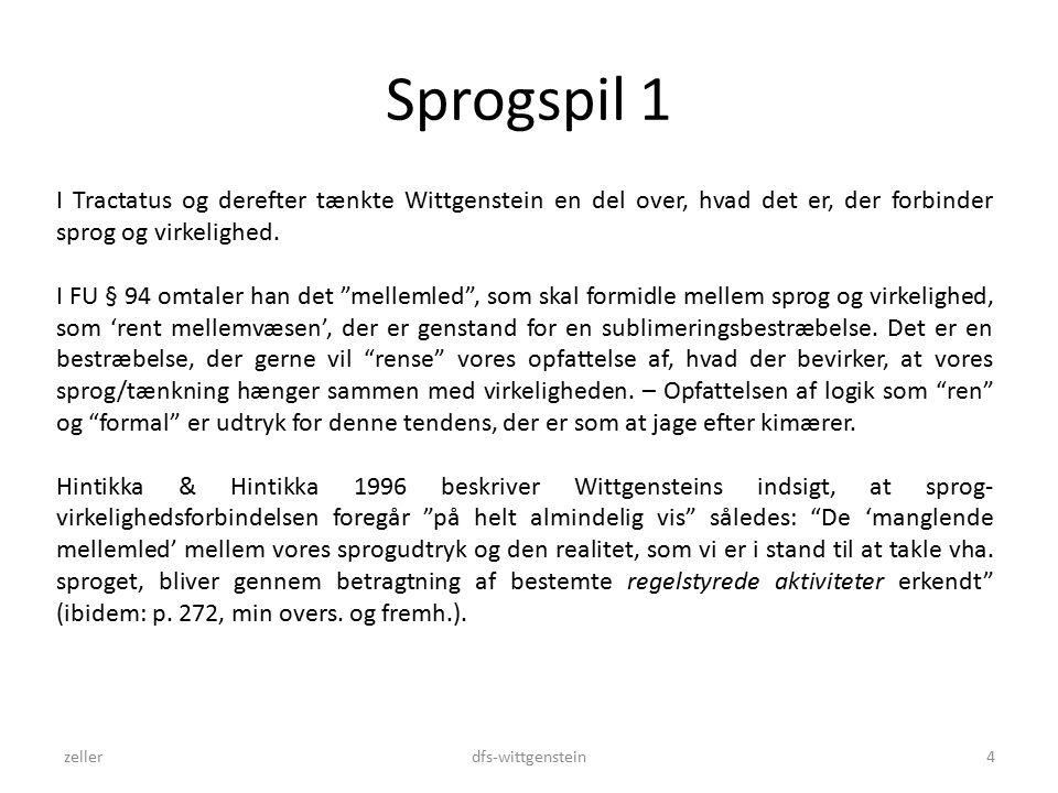 Sprogspil 1 zellerdfs-wittgenstein4 I Tractatus og derefter tænkte Wittgenstein en del over, hvad det er, der forbinder sprog og virkelighed.