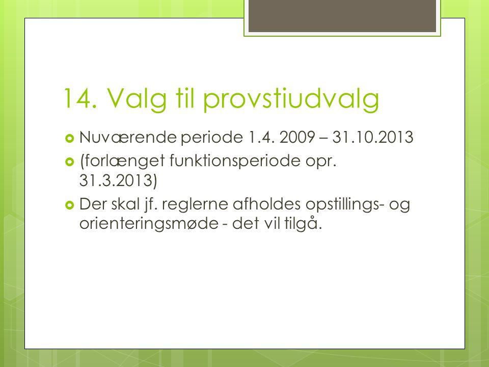 14. Valg til provstiudvalg  Nuværende periode 1.4.