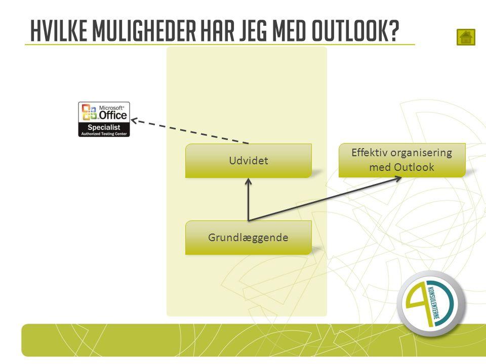 Hvilke muligheder har jeg med Outlook Grundlæggende Udvidet Effektiv organisering med Outlook