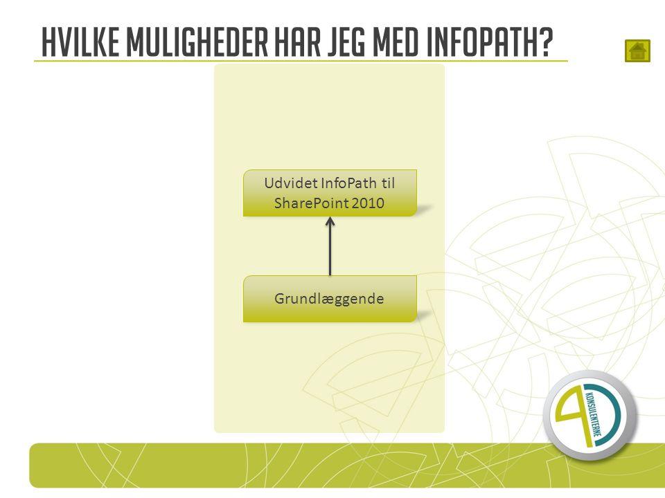 Hvilke muligheder har jeg med InfoPath Grundlæggende Udvidet InfoPath til SharePoint 2010