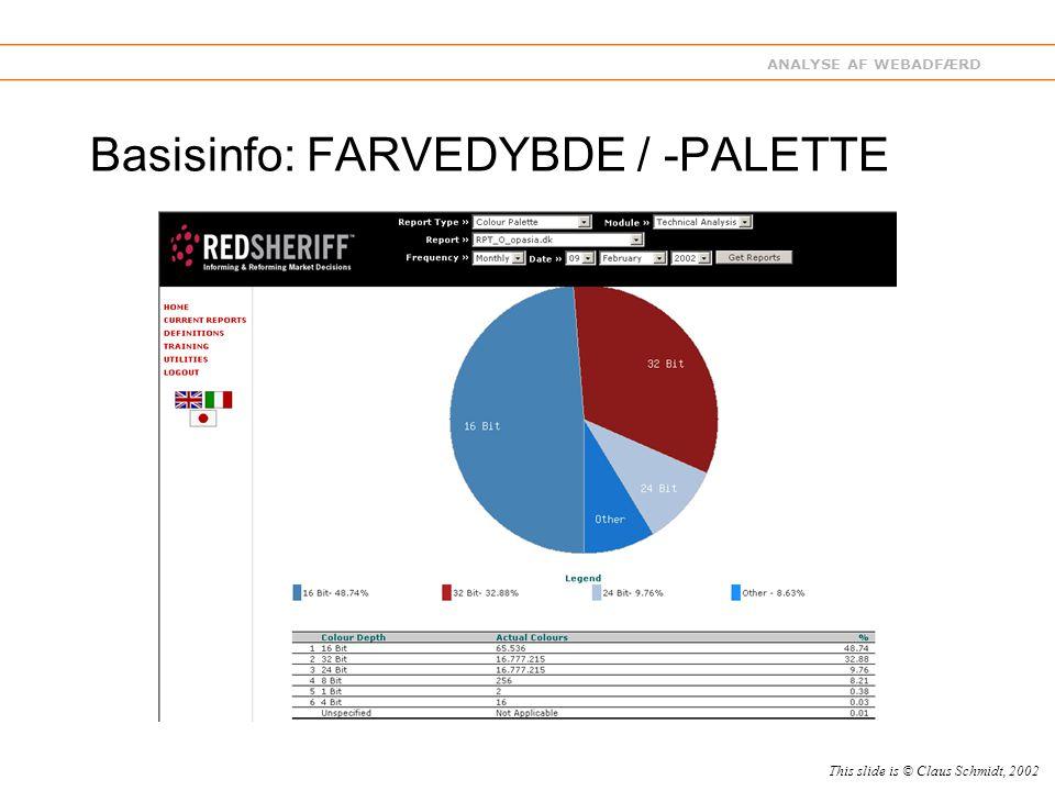 ANALYSE AF WEBADFÆRD Basisinfo: FARVEDYBDE / -PALETTE This slide is © Claus Schmidt, 2002