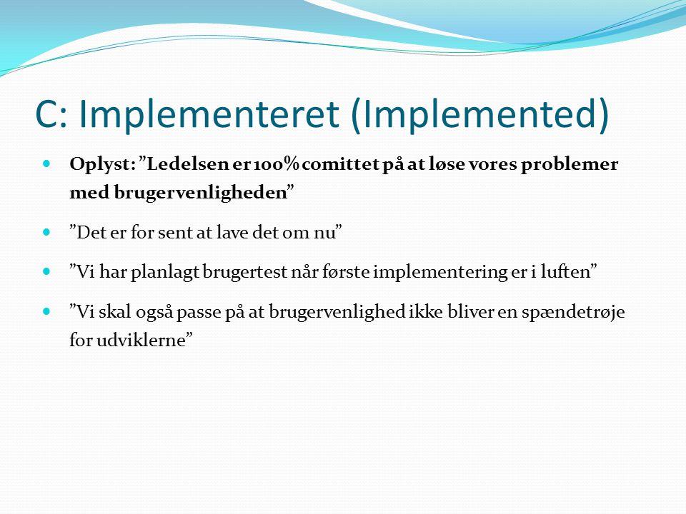 C: Implementeret (Implemented) Oplyst: Ledelsen er 100% comittet på at løse vores problemer med brugervenligheden Det er for sent at lave det om nu Vi har planlagt brugertest når første implementering er i luften Vi skal også passe på at brugervenlighed ikke bliver en spændetrøje for udviklerne