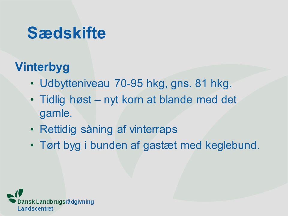 Dansk Landbrugsrådgivning Landscentret Sædskifte Vinterbyg Udbytteniveau 70-95 hkg, gns.