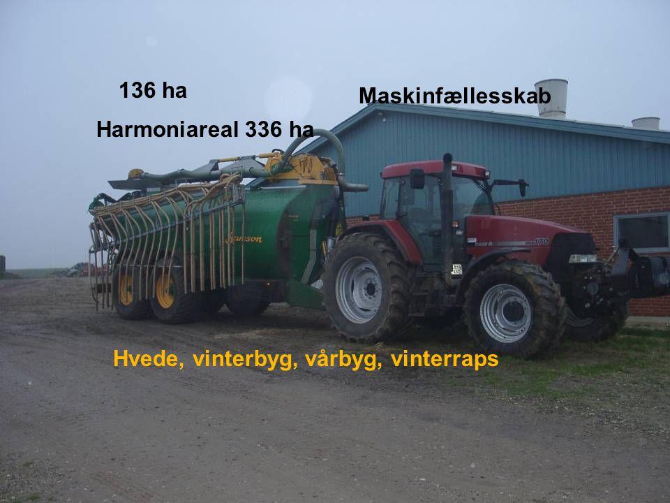 Dansk Landbrugsrådgivning Landscentret 136 ha Harmoniareal 336 ha Hvede, vinterbyg, vårbyg, vinterraps Maskinfællesskab