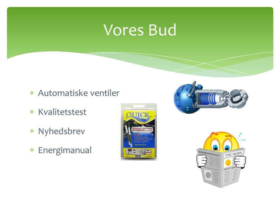 Automatiske ventiler  Kvalitetstest  Nyhedsbrev  Energimanual Vores Bud