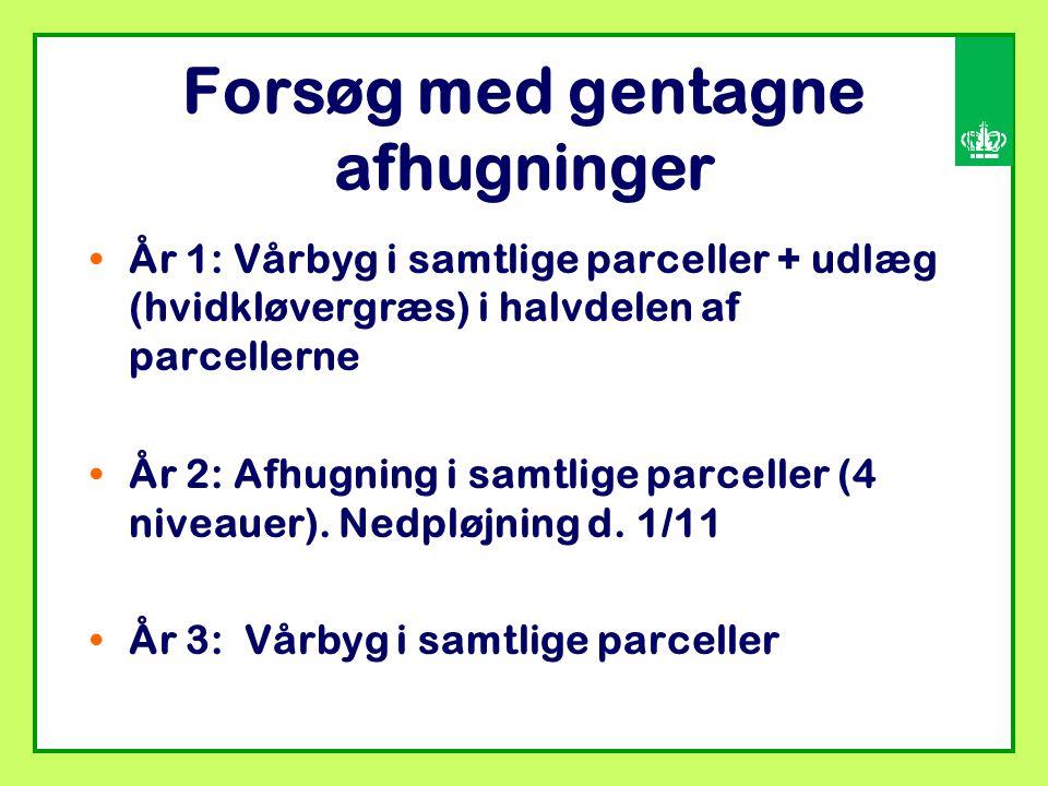 Forsøg med gentagne afhugninger År 1: Vårbyg i samtlige parceller + udlæg (hvidkløvergræs) i halvdelen af parcellerne År 2: Afhugning i samtlige parceller (4 niveauer).
