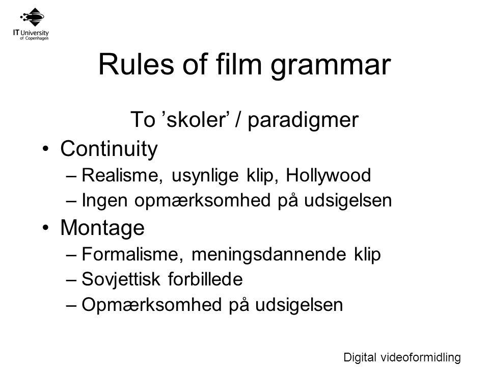 Digital videoformidling Rules of film grammar To 'skoler' / paradigmer Continuity –Realisme, usynlige klip, Hollywood –Ingen opmærksomhed på udsigelsen Montage –Formalisme, meningsdannende klip –Sovjettisk forbillede –Opmærksomhed på udsigelsen