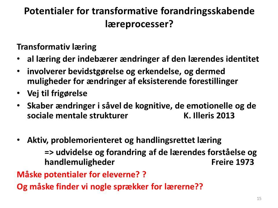 Potentialer for transformative forandringsskabende læreprocesser.