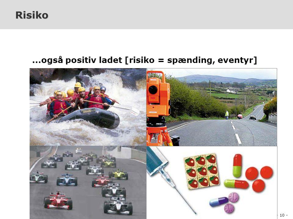 - 10 - PDI-E2005 Projektledelse og Produktion af Digitalt Indhold Peter Olaf Looms Risiko...også positiv ladet [risiko = spænding, eventyr]