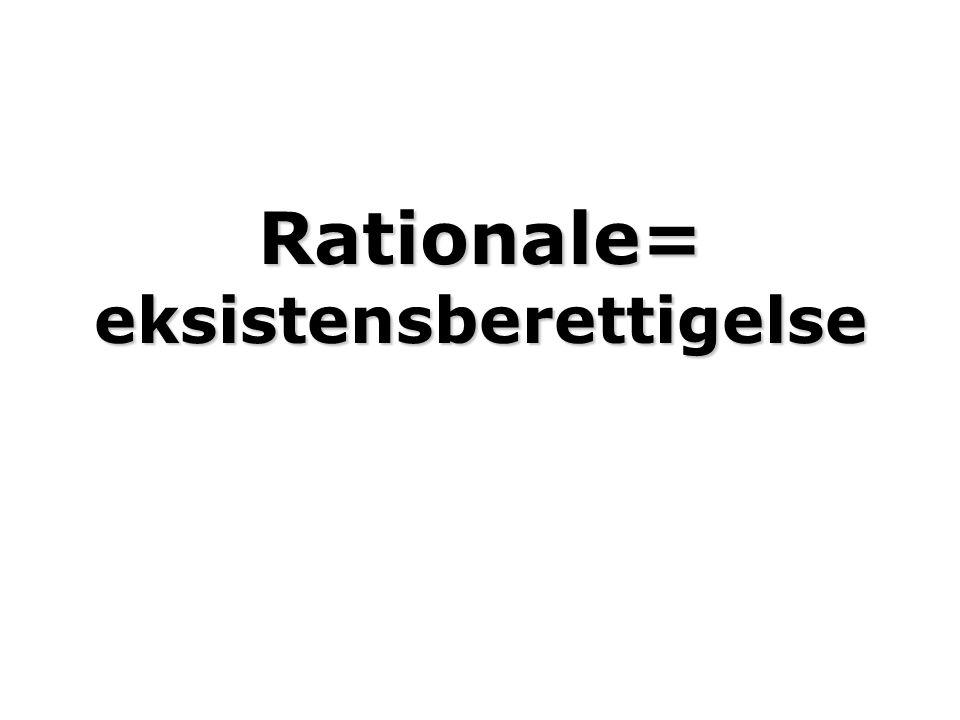Rationale= eksistensberettigelse