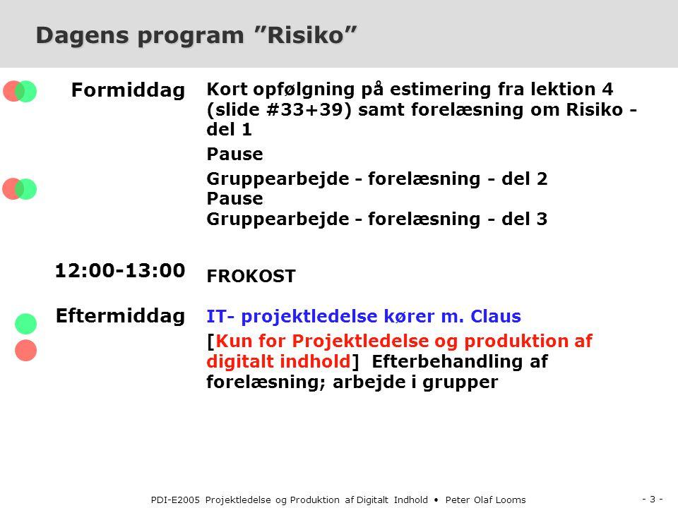 - 3 - PDI-E2005 Projektledelse og Produktion af Digitalt Indhold Peter Olaf Looms Dagens program Risiko Formiddag 12:00-13:00 Eftermiddag Kort opfølgning på estimering fra lektion 4 (slide #33+39) samt forelæsning om Risiko - del 1 Pause Gruppearbejde - forelæsning - del 2 Pause Gruppearbejde - forelæsning - del 3 FROKOST IT- projektledelse kører m.