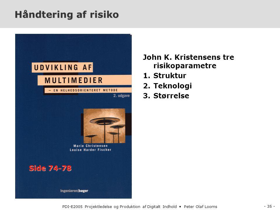 - 35 - PDI-E2005 Projektledelse og Produktion af Digitalt Indhold Peter Olaf Looms Håndtering af risiko John K.