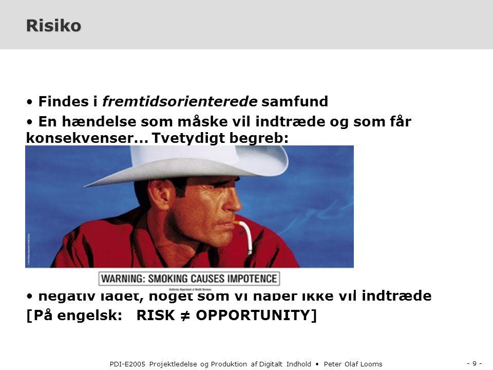- 9 - PDI-E2005 Projektledelse og Produktion af Digitalt Indhold Peter Olaf Looms Risiko Findes i fremtidsorienterede samfund En hændelse som måske vil indtræde og som får konsekvenser...