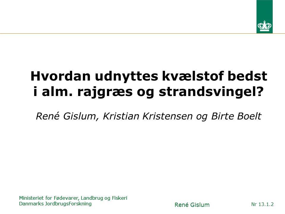 Ministeriet for Fødevarer, Landbrug og Fiskeri Danmarks JordbrugsForskning René Gislum Nr 13.1.2 Hvordan udnyttes kvælstof bedst i alm.