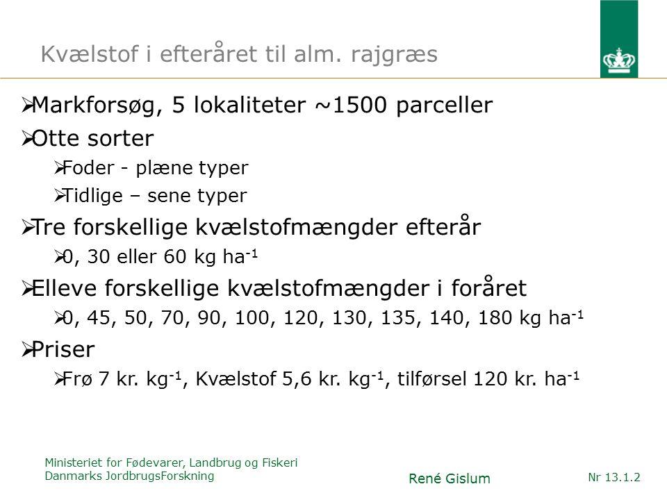 Ministeriet for Fødevarer, Landbrug og Fiskeri Danmarks JordbrugsForskning René Gislum Nr 13.1.2 Kvælstof i efteråret til alm.