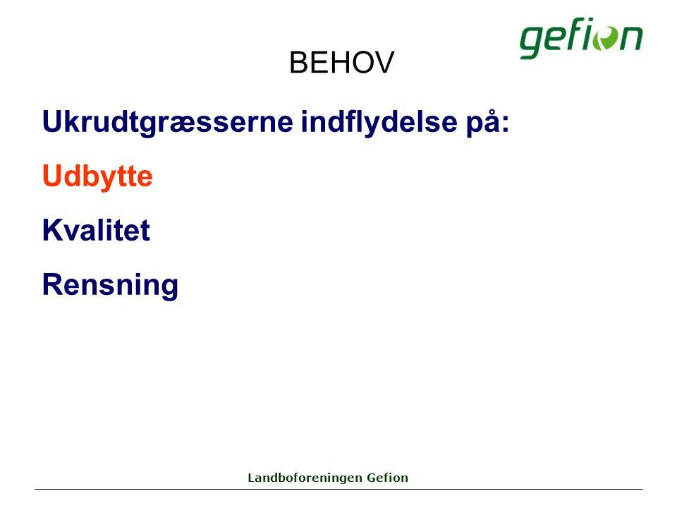 Landboforeningen Gefion BEHOV Ukrudtgræsserne indflydelse på: Udbytte Kvalitet Rensning