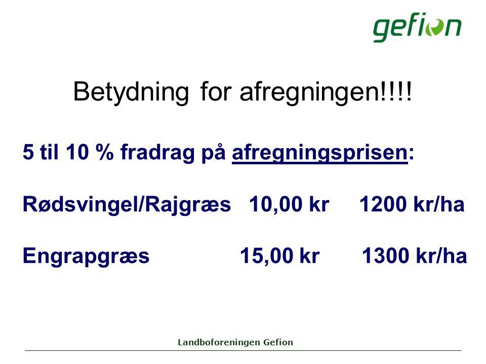 Landboforeningen Gefion Betydning for afregningen!!!.