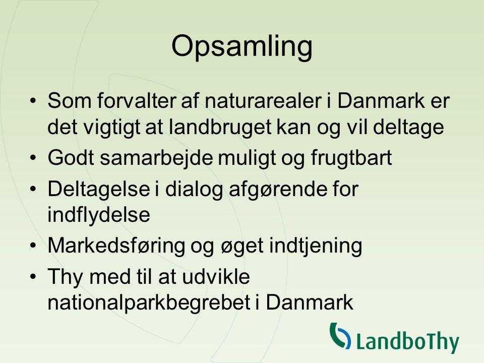 Opsamling Som forvalter af naturarealer i Danmark er det vigtigt at landbruget kan og vil deltage Godt samarbejde muligt og frugtbart Deltagelse i dialog afgørende for indflydelse Markedsføring og øget indtjening Thy med til at udvikle nationalparkbegrebet i Danmark