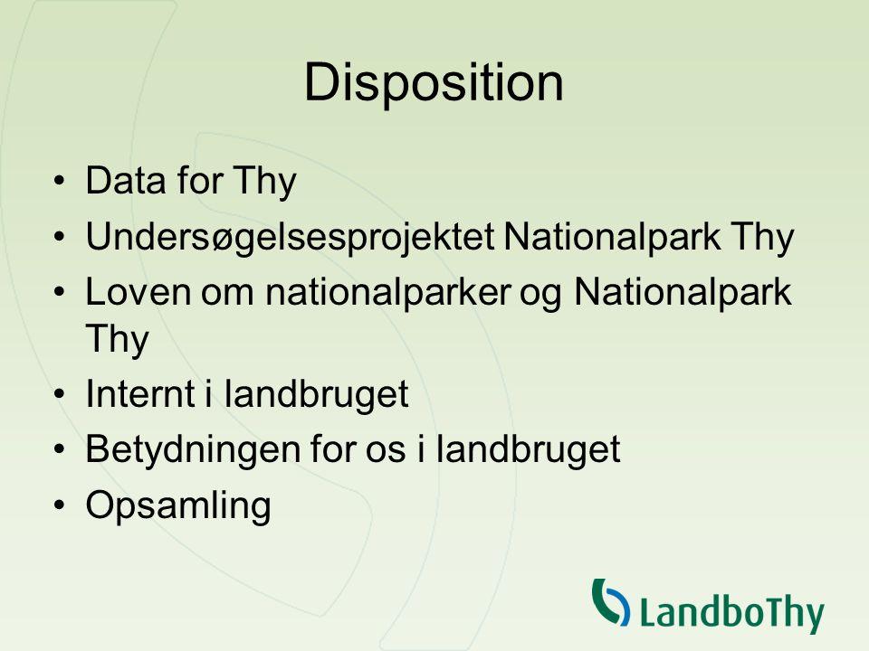 Disposition Data for Thy Undersøgelsesprojektet Nationalpark Thy Loven om nationalparker og Nationalpark Thy Internt i landbruget Betydningen for os i landbruget Opsamling