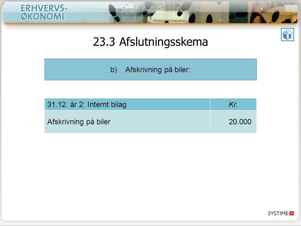b)Afskrivning på biler: 31.12. år 2: Internt bilagKr.