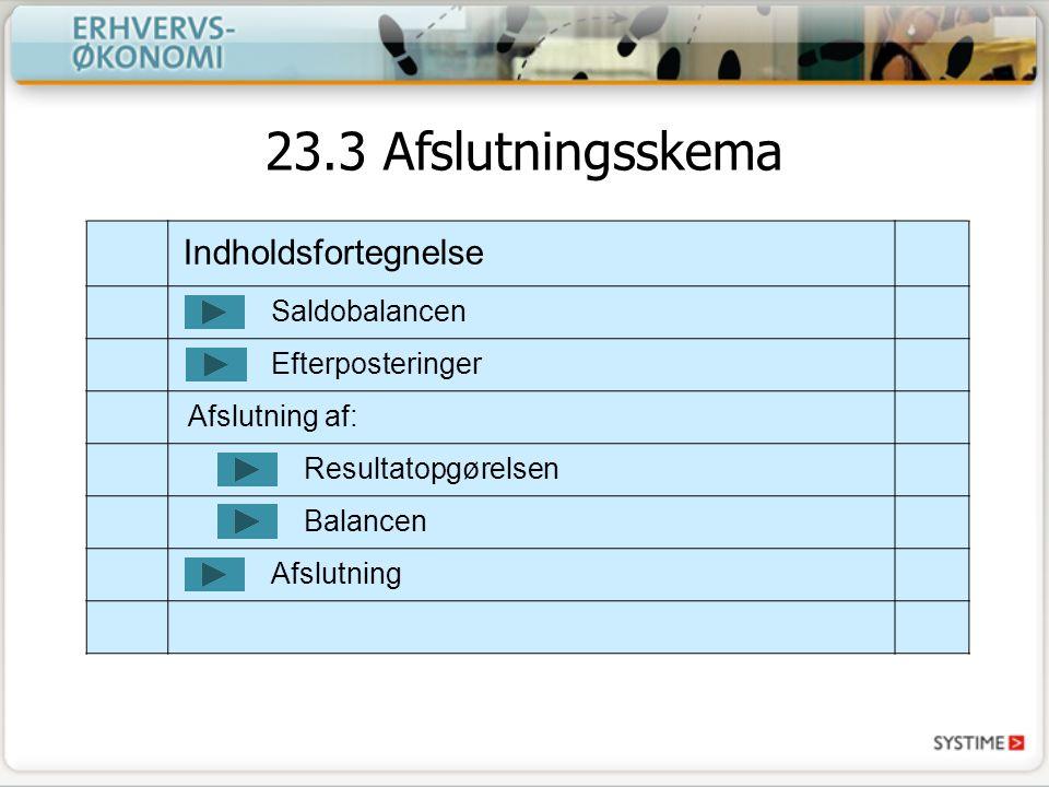 Indholdsfortegnelse Saldobalancen Afslutning Resultatopgørelsen Balancen Efterposteringer Afslutning af: 23.3 Afslutningsskema