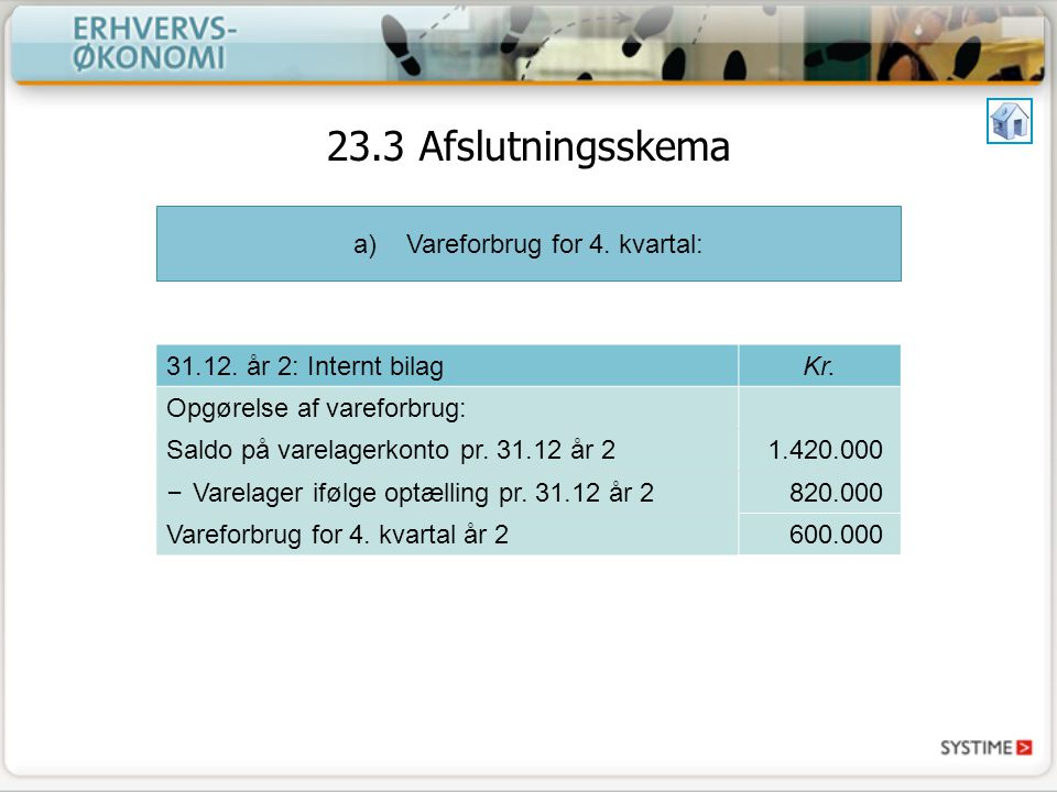 a)Vareforbrug for 4. kvartal: 31.12. år 2: Internt bilagKr.