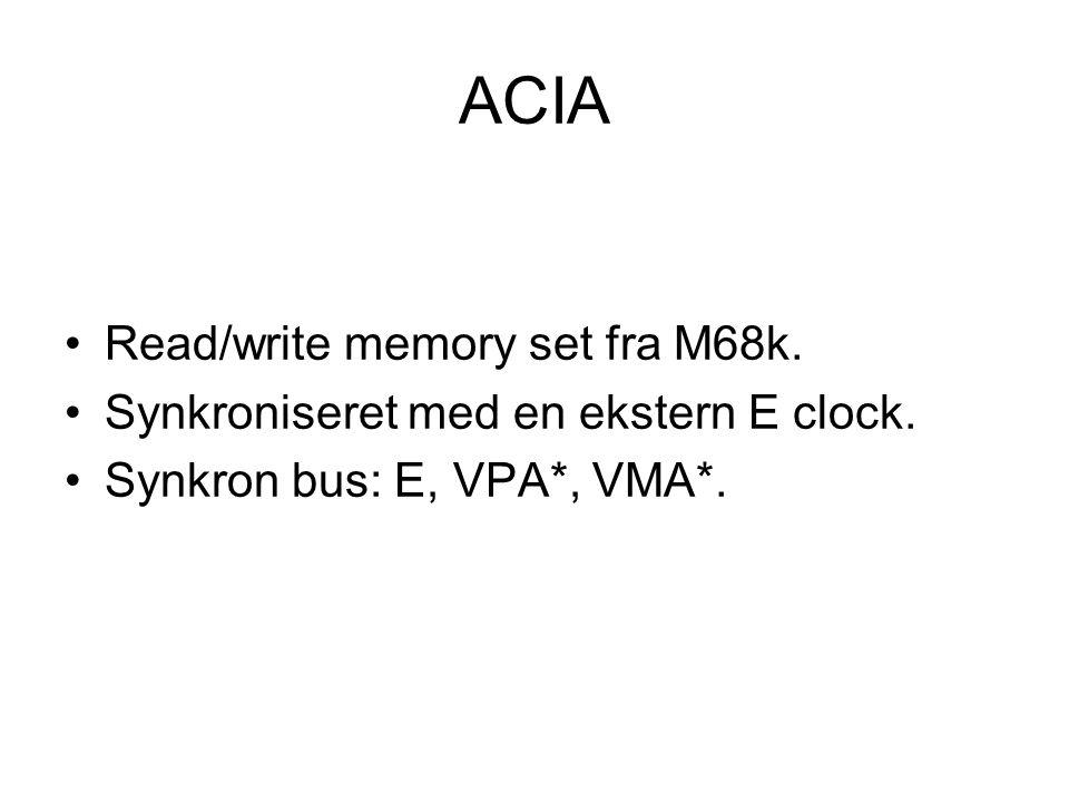 ACIA Read/write memory set fra M68k. Synkroniseret med en ekstern E clock.