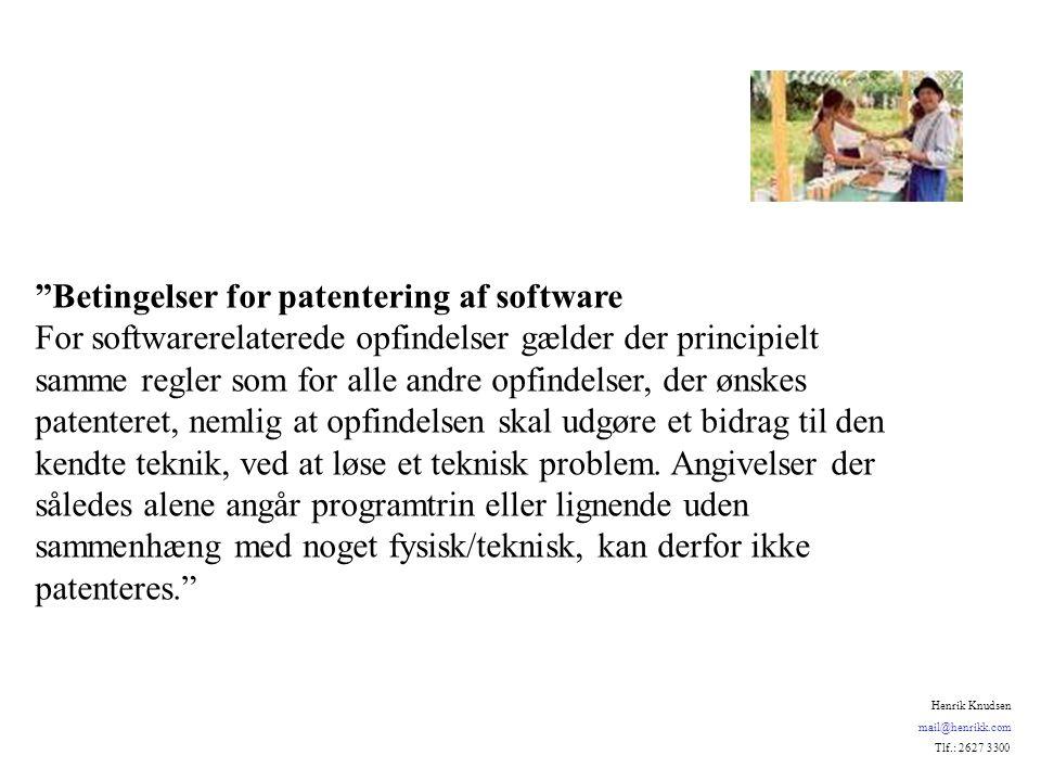 Betingelser for patentering af software For softwarerelaterede opfindelser gælder der principielt samme regler som for alle andre opfindelser, der ønskes patenteret, nemlig at opfindelsen skal udgøre et bidrag til den kendte teknik, ved at løse et teknisk problem.