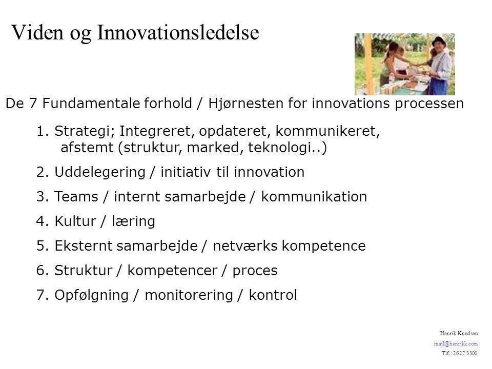 1. Strategi; Integreret, opdateret, kommunikeret, afstemt (struktur, marked, teknologi..) 2.
