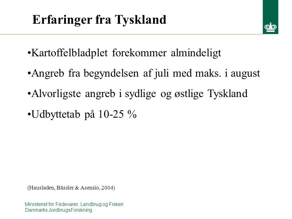 Ministeriet for Fødevarer, Landbrug og Fiskeri Danmarks JordbrugsForskning Erfaringer fra Tyskland Kartoffelbladplet forekommer almindeligt Angreb fra begyndelsen af juli med maks.