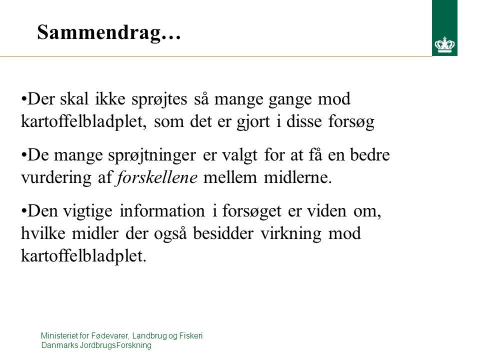 Ministeriet for Fødevarer, Landbrug og Fiskeri Danmarks JordbrugsForskning Sammendrag… Der skal ikke sprøjtes så mange gange mod kartoffelbladplet, som det er gjort i disse forsøg De mange sprøjtninger er valgt for at få en bedre vurdering af forskellene mellem midlerne.