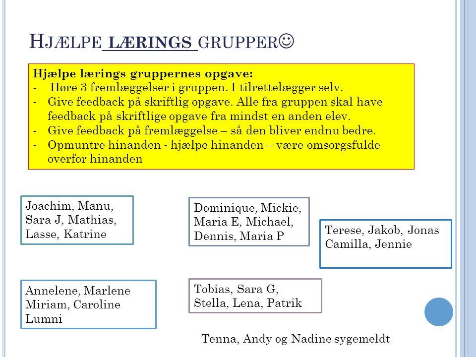 H JÆLPE LÆRINGS GRUPPER Hjælpe lærings gruppernes opgave: - Høre 3 fremlæggelser i gruppen.
