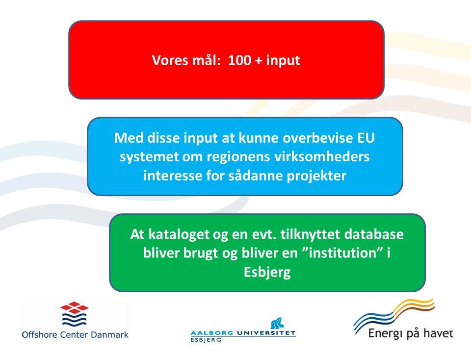 Vores mål: 100 + input Med disse input at kunne overbevise EU systemet om regionens virksomheders interesse for sådanne projekter At kataloget og en evt.