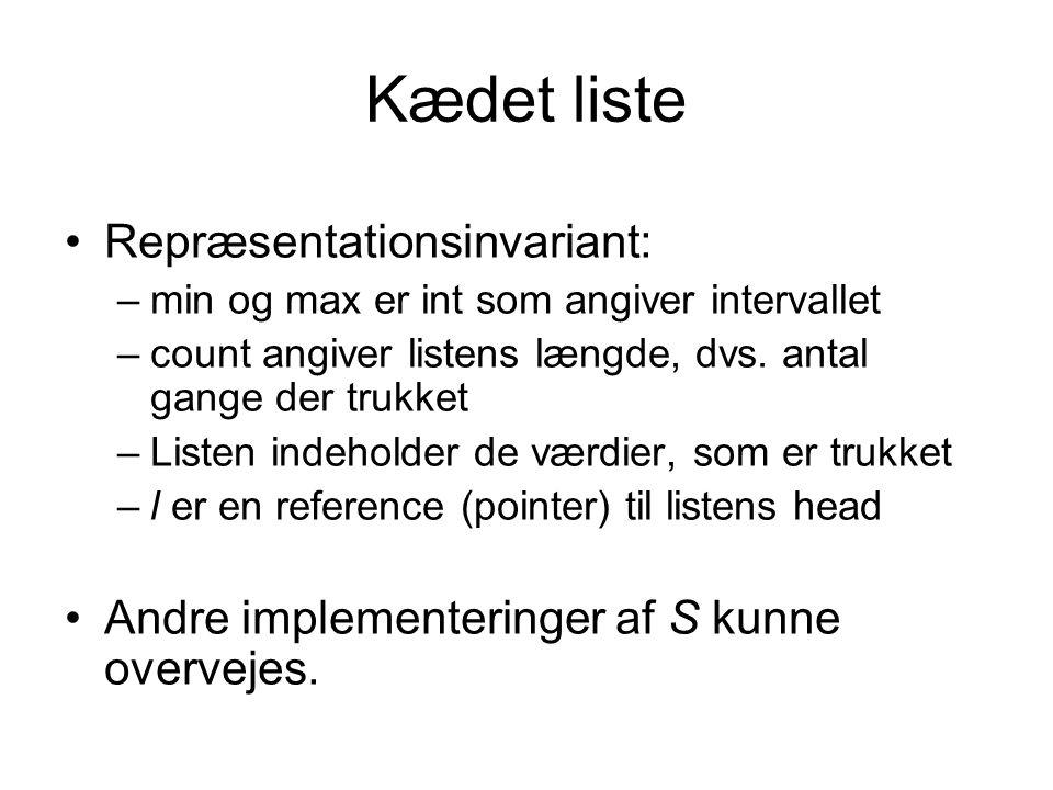 Kædet liste Repræsentationsinvariant: –min og max er int som angiver intervallet –count angiver listens længde, dvs.