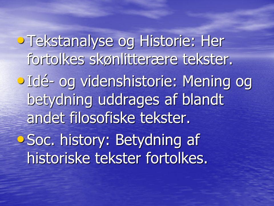 Tekstanalyse og Historie: Her fortolkes skønlitterære tekster.