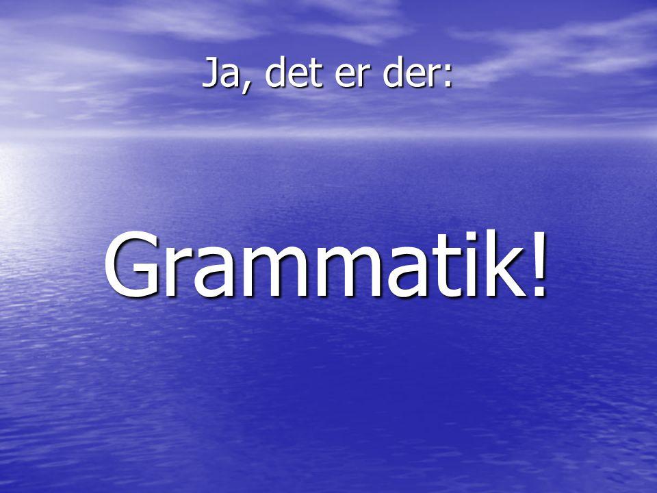 Ja, det er der: Grammatik!