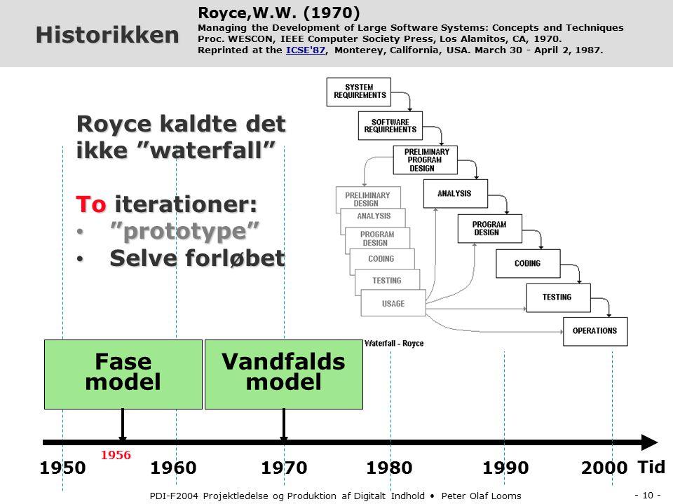 - 9 - PDI-F2004 Projektledelse og Produktion af Digitalt Indhold Peter Olaf Looms Historikken Tid 1950 1960 1970 1980 1990 2000 Benington, Herbert D.