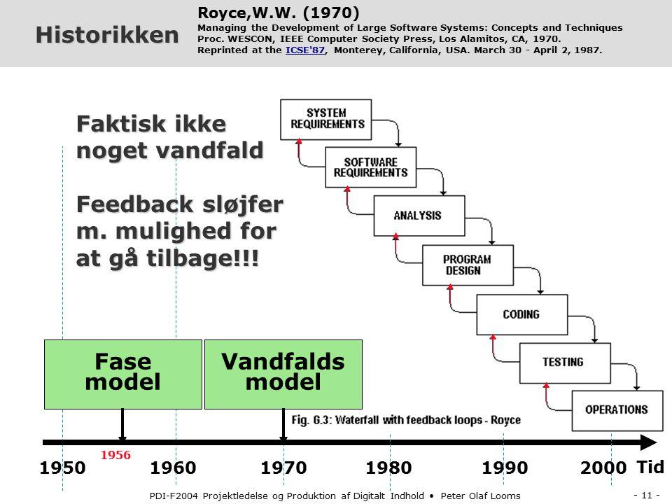 - 10 - PDI-F2004 Projektledelse og Produktion af Digitalt Indhold Peter Olaf Looms Historikken Tid 1950 1960 1970 1980 1990 2000 Fase model 1956 Royce,W.W.