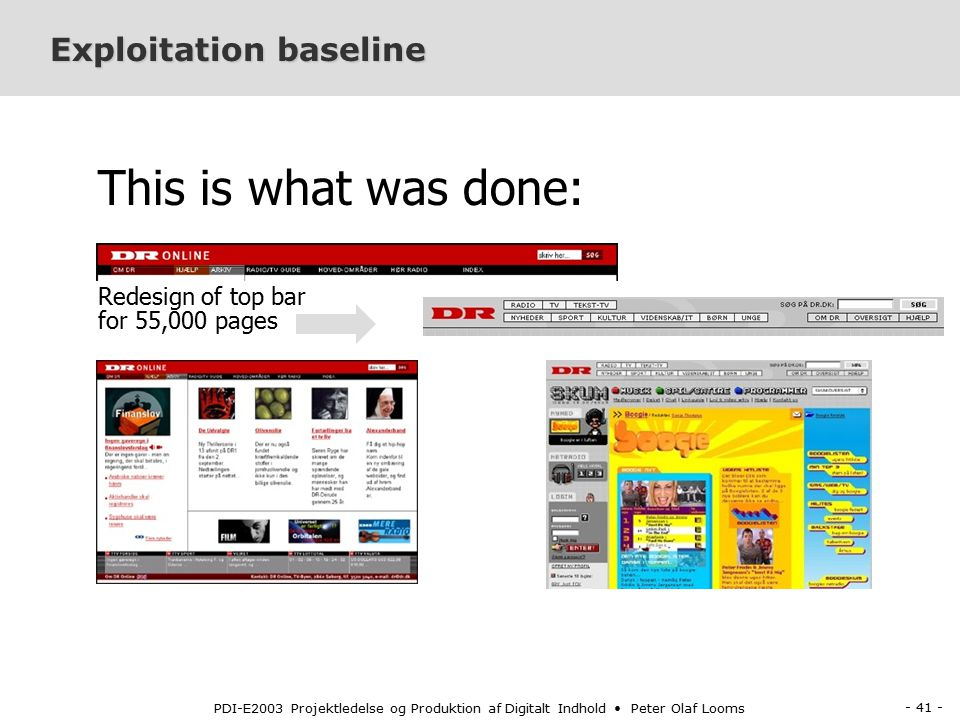 - 41 - PDI-E2003 Projektledelse og Produktion af Digitalt Indhold Peter Olaf Looms Exploitation baseline This is what was done: Redesign of top bar for 55,000 pages
