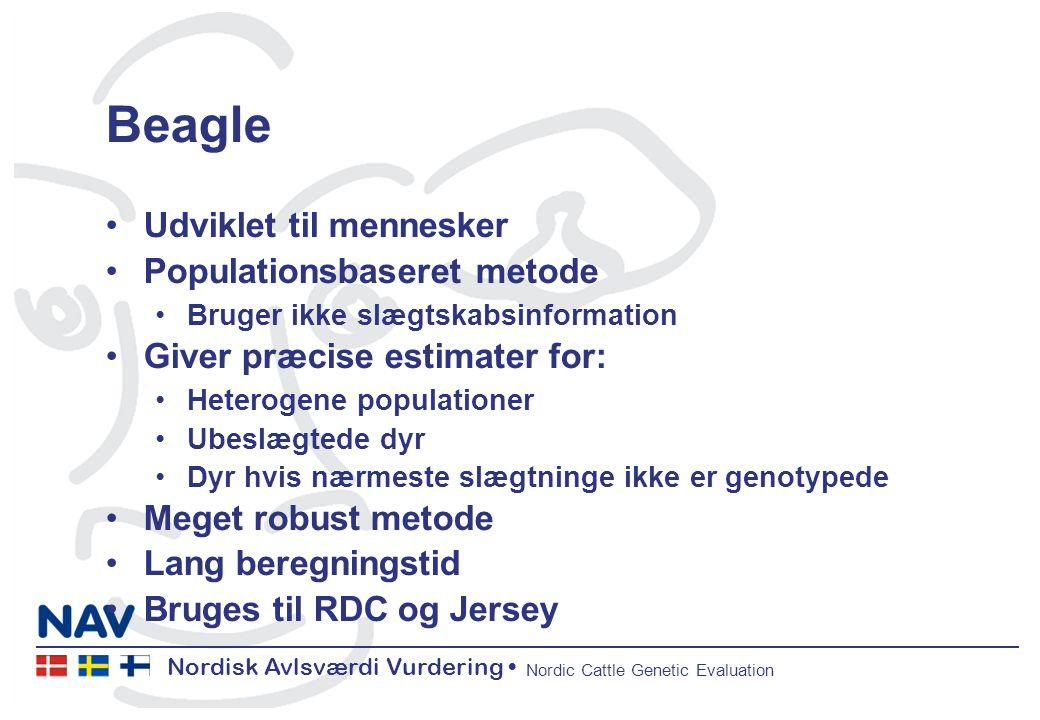 Nordisk Avlsværdi Vurdering Nordic Cattle Genetic Evaluation Beagle Udviklet til mennesker Populationsbaseret metode Bruger ikke slægtskabsinformation Giver præcise estimater for: Heterogene populationer Ubeslægtede dyr Dyr hvis nærmeste slægtninge ikke er genotypede Meget robust metode Lang beregningstid Bruges til RDC og Jersey