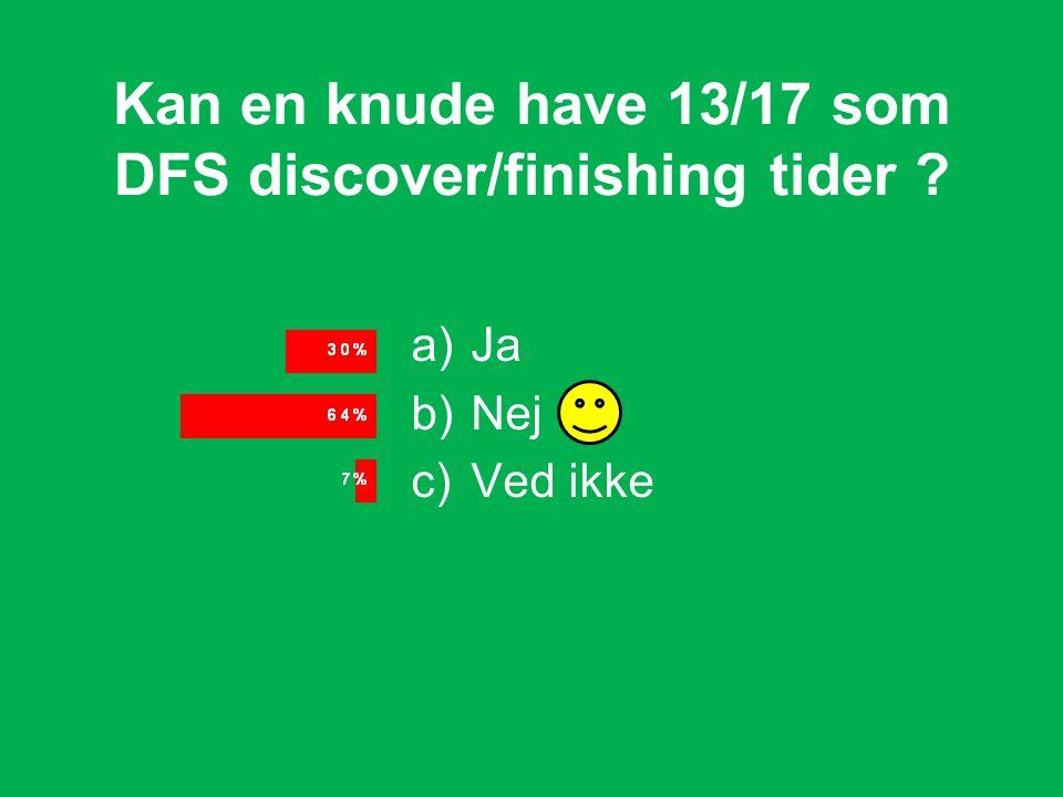 Kan en knude have 13/17 som DFS discover/finishing tider a)Ja b)Nej c)Ved ikke