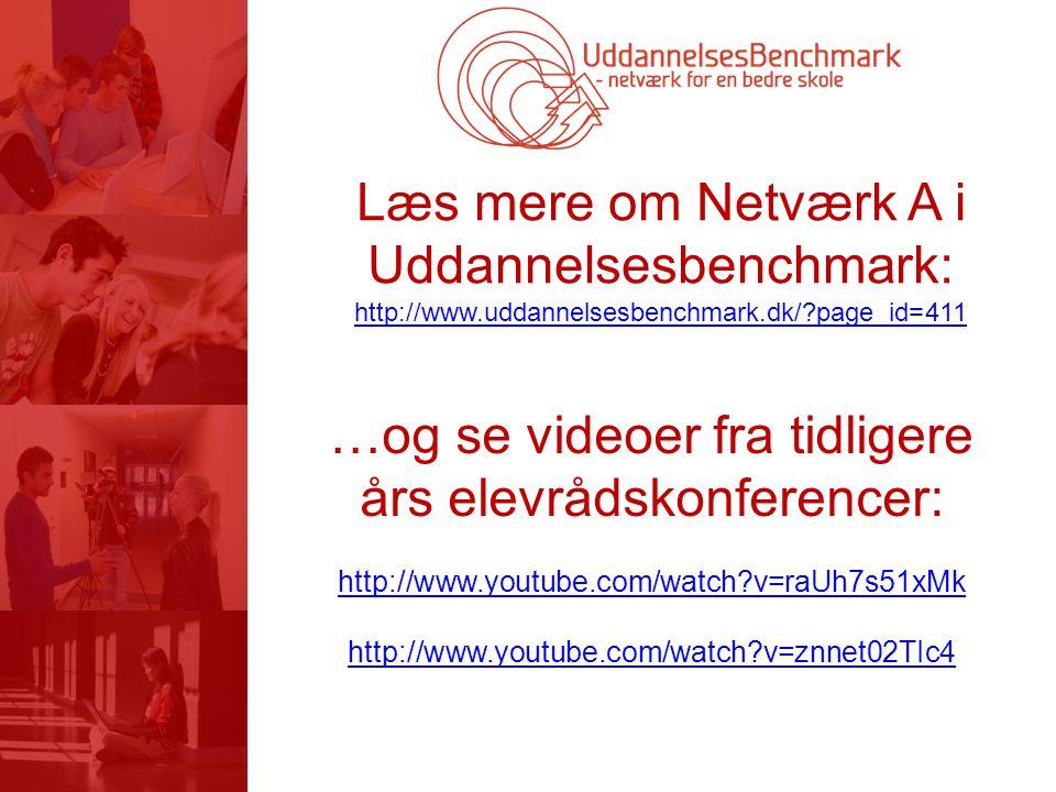 Læs mere om Netværk A i Uddannelsesbenchmark: http://www.uddannelsesbenchmark.dk/ page_id=411 …og se videoer fra tidligere års elevrådskonferencer: http://www.youtube.com/watch v=raUh7s51xMk http://www.youtube.com/watch v=znnet02TIc4
